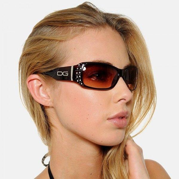 ラインストーンのアクセントが目を引きます DG Eyewear レディース 女性用 サングラス ラインストーン ブラック Women's Sunglasses with Rhinestones