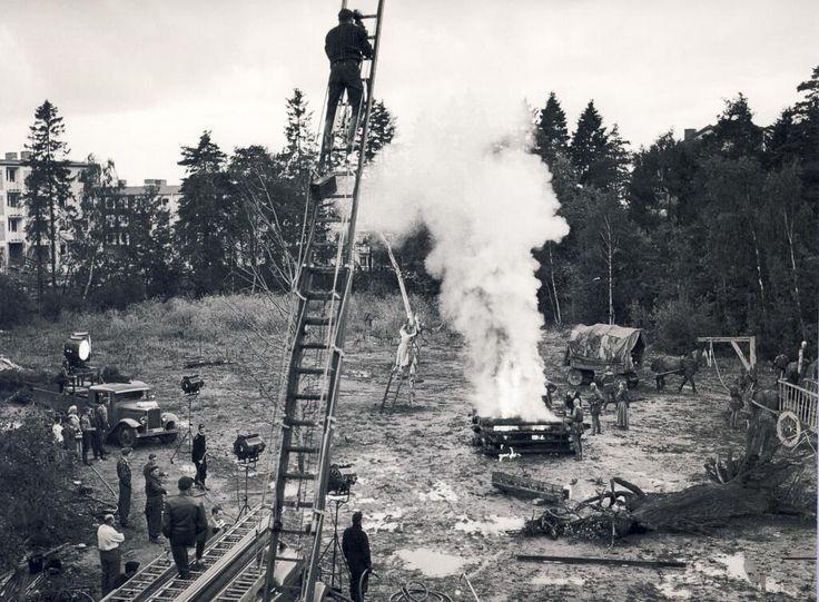Filming on the 1956 set of Ingmar Bergman's THE SEVENTH SEAL at Filmstaden studios in Stockholm, Sweden