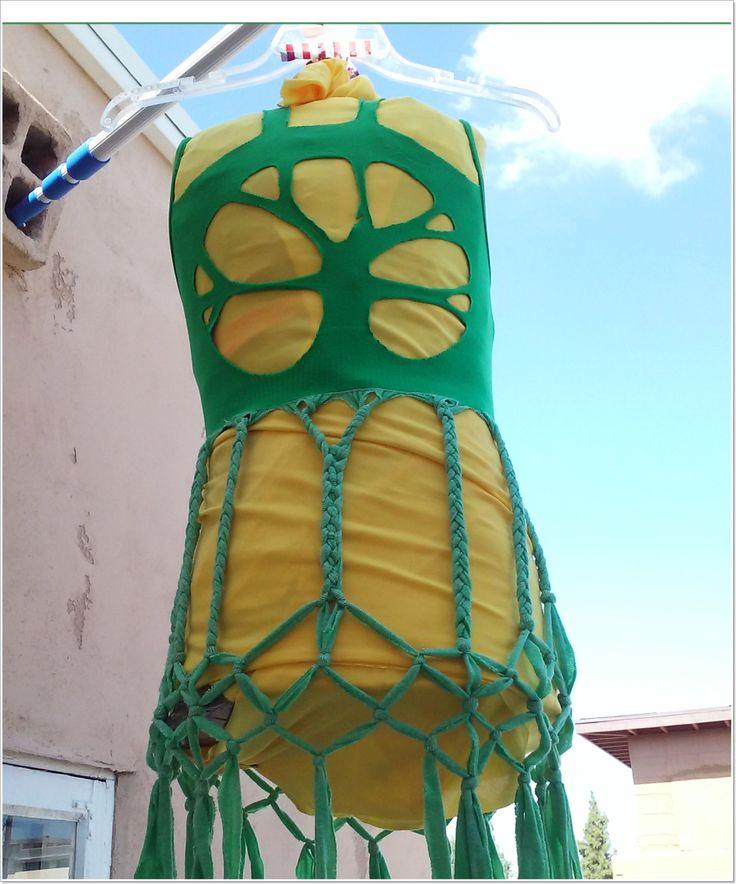 Hippie tree refashioned green festival dress shredded shirt swim coverup by RefashionRiffRaffery on Etsy