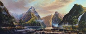 Craig S. Primrose QSM, 'Mitre Peak - Milford Sound' (2013) Oil on linen, 750 x 1825 mm, POA at the Remuera Gallery