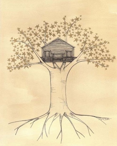 : 1987 Art, Houses 1987, Dreams Houses, Treehouse Life, Trees Houses, Dream House, Art Prints, Lisa Chow, Stars Trees
