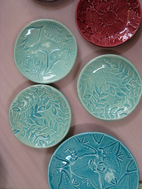 Colorful Stamped Clay Dishes by Shepherds Grove, via Flickr