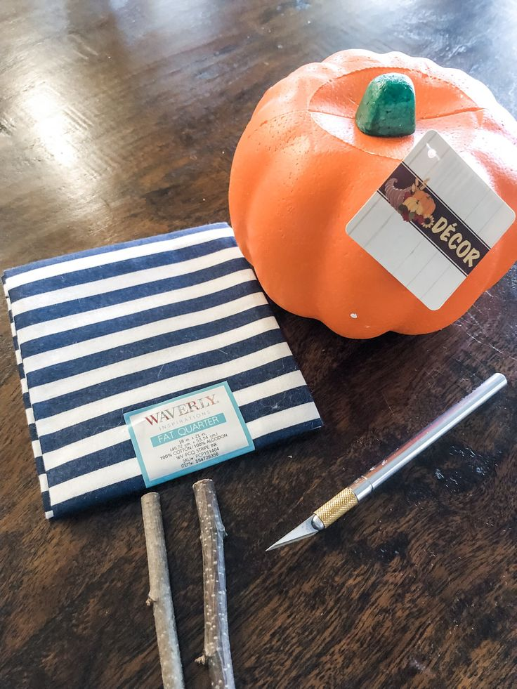 Easy no sew fabric pumpkins made from dollar tree foam pumpkins!