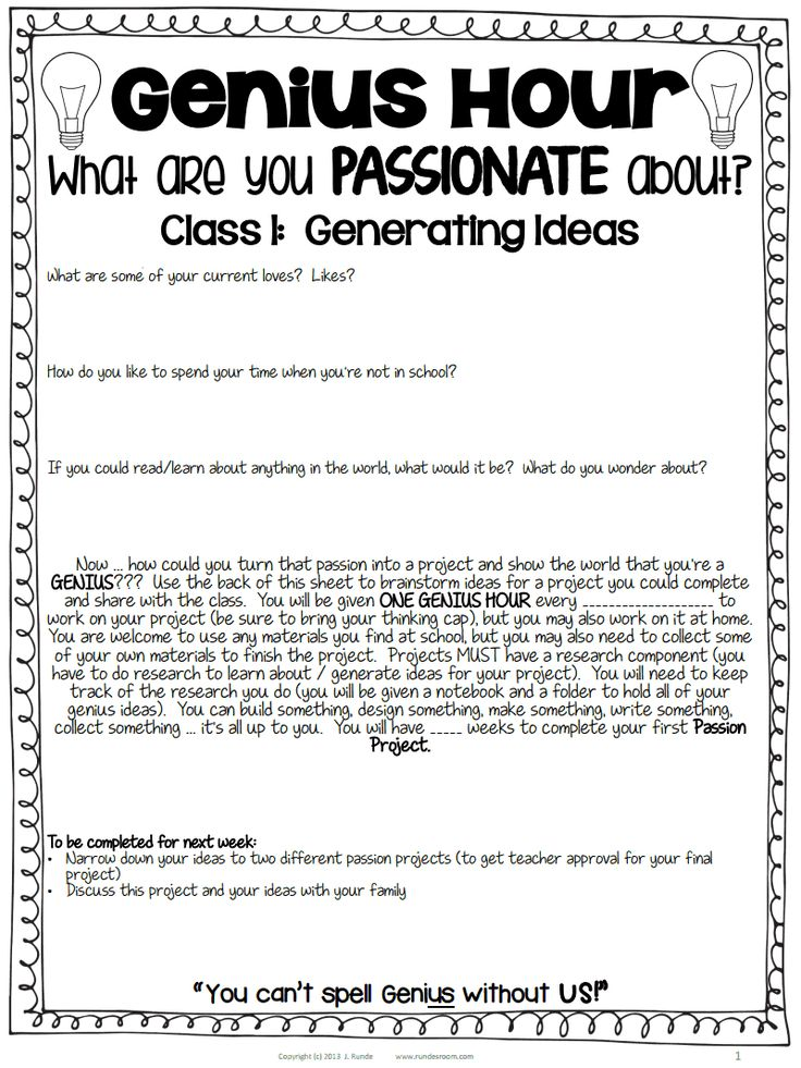 """guiding questions and board letters """"Genius Hour""""-- Passion Projects"""
