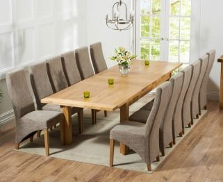 Mark Harris Rustique Solid Oak 220cm Extending Dining Table With 12 Harley Tweed Chair