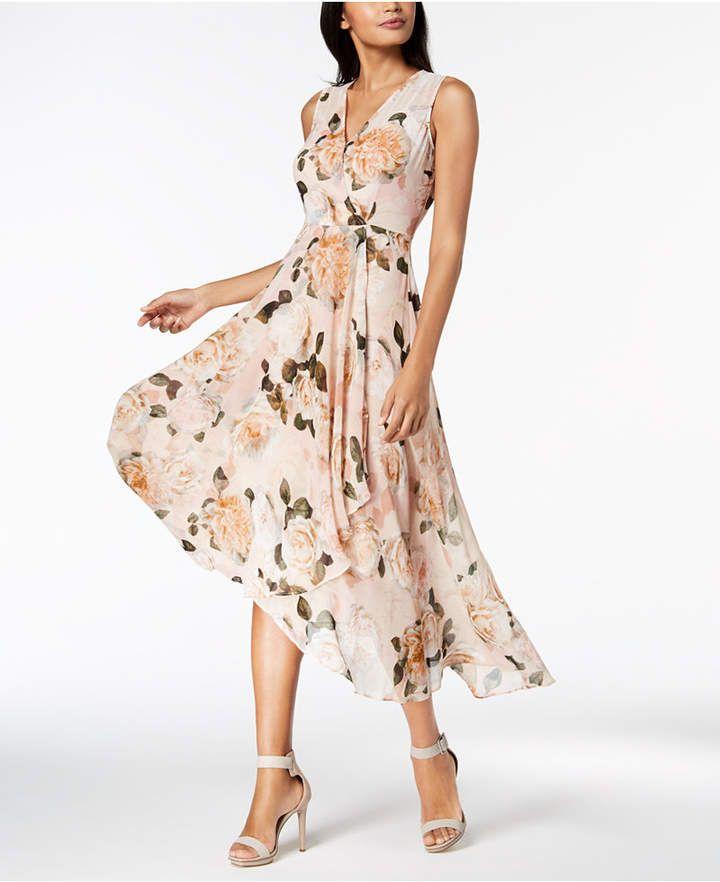 ed5d7937c4fe Calvin Klein Printed Chiffon Faux-Wrap Dress, Regular & Petite Sizes #ad # floral #dress #casual #style