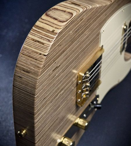 Plexwood® White Custom Guitars telecaster guitar from ornamental edge-grain solid birch plywood boards