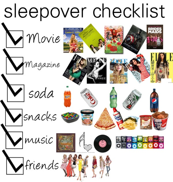 """sleepover checklist"" by beautyandthetardis ❤ liked on Polyvore"