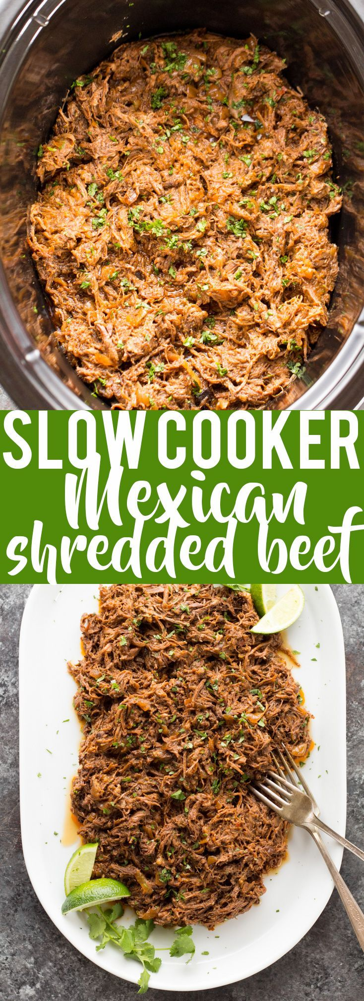 This all purpose Slow Cooker Mexican Shredded Beef is great for tacos, burritos and more! Quick and easy prep work and the crock pot does the rest.  crock pot recipe   Slow Cooker Recipe   Crock Pot beef   Slow Cooker Taco   Crock Pot Tacos