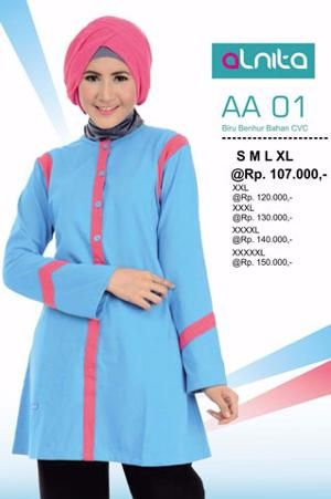 Baju Blus Tunik ALNITA AA01 Biru Benhur