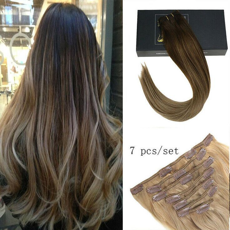 Sunny 7pcs Double Weft Clip in Human Hair Extensio…
