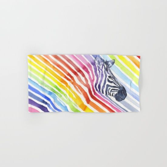 Zebra rainbow stripes camouflage by Olechka, set of 4 bath towels, $68. https://society6.com/product/zebra-rainbow-stripes-camouflage-1cl_bath-towel?curator=bestreeartdesigns