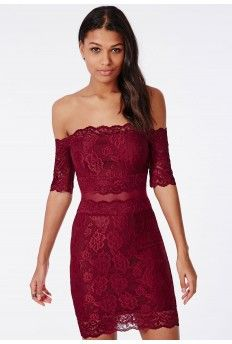 Kate Lace Bardot Midi Dress Burgundy