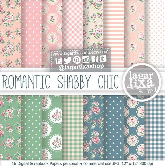 Shabby Chic Digital Paper Romantic Sweet Vintage Pink Beige Old blue green scrapbooking invitations Baby Shower blog background patterns