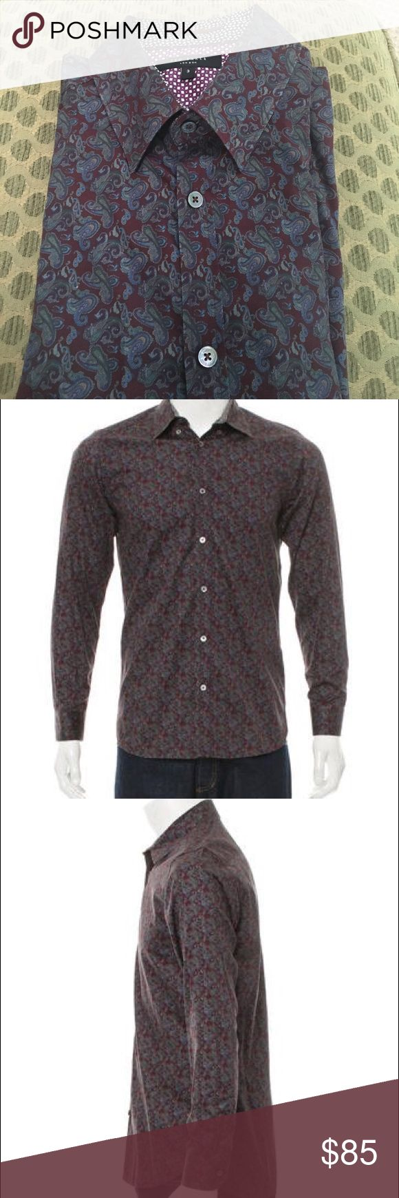 """Ted Baker Paisley Print Button-Up Men's Shirt Excellent condition maroon paisley shirt. Ted Baker size 3 which translates to a medium. Dimensions are chest: 40"""", length: 30"""", sleeve: 32.5"""", neck: 16"""". 100% cotton Ted Baker Shirts Casual Button Down Shirts"""