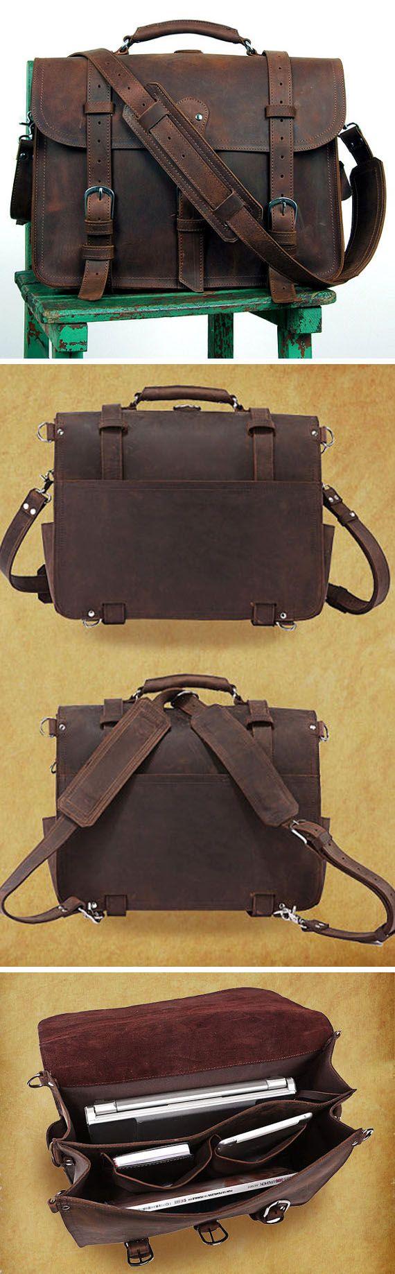 Large Mens Leather Backpack Messenger Bag Cowhide Briefcase Big Laptop Bag Tote