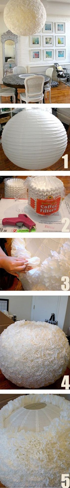 Lámpara de papel decorada con filtros para café