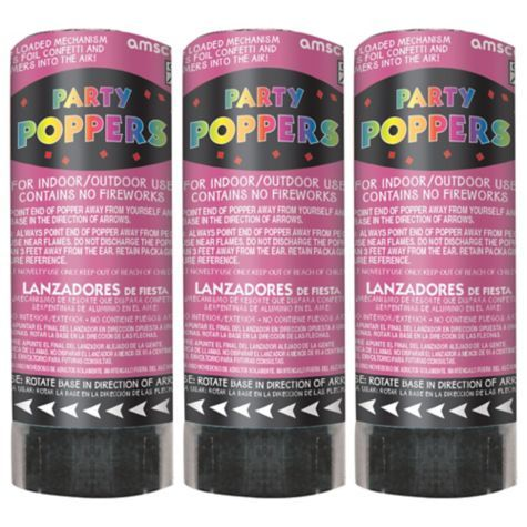 Bright Pink Confetti Party Poppers 3ct - Party City . Also available in blue for gender reveal party