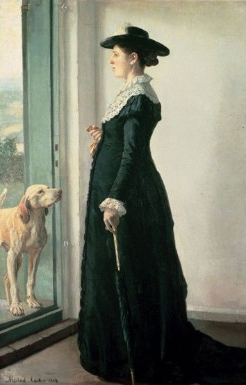 Michael Ancher: Portrait of my wife. The painter Anna Ancher. 1884  Oil on canvas. 183.3 x 119.3 cm.  The Hirschsprung Collection, Copenhagen