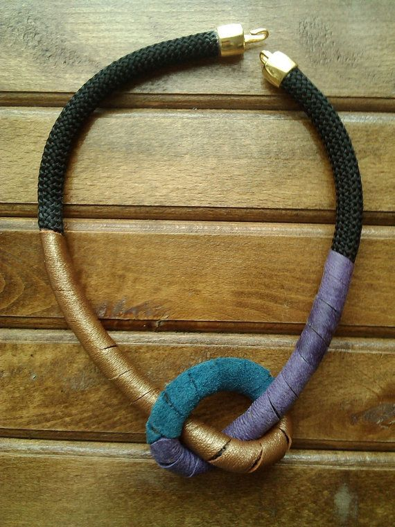 Rope Knot Leather Necklace, Tribal Knot Necklace, Colorful Rope Knot Necklace, Rope and Leather Necklace, Statement Necklace, Tribal Jewelry
