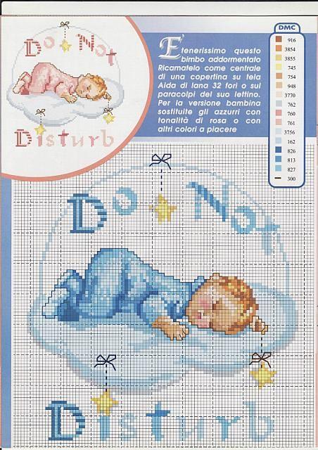 Copertina schema bambino che dorme sulla nuvola schema punto croce