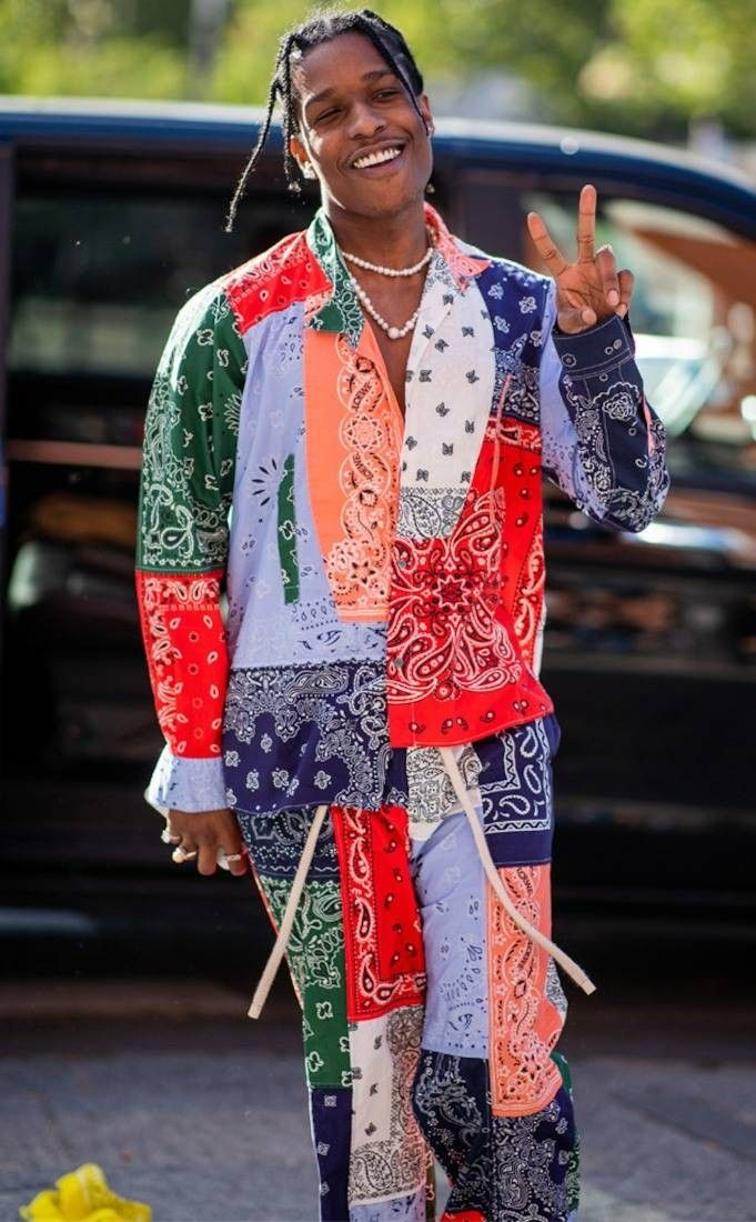 e88d85af217 ASAP Rocky wearing Loewe. I can't help but wonder about the cost of this  outfit vs going to a local store and buying the very same bandanas for .99  cents ...