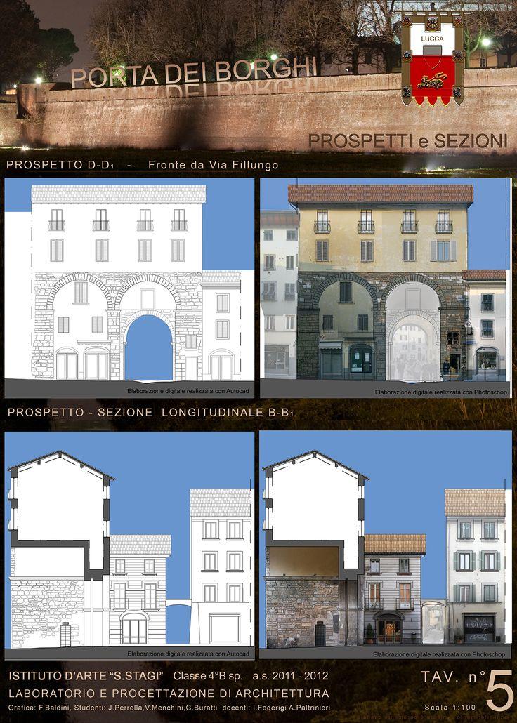 """""""Progetto Madonna dei Miracoli - Lucca 2012"""", prospetti e sezioni, cl. 4B sez. Architettura. ISA/Liceo artistico statale """"Stagio Stagi""""."""