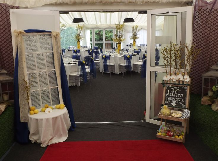 blue and yellow themed wedding with rustic features. lemon theme. www.weddingflowerbylaura.com