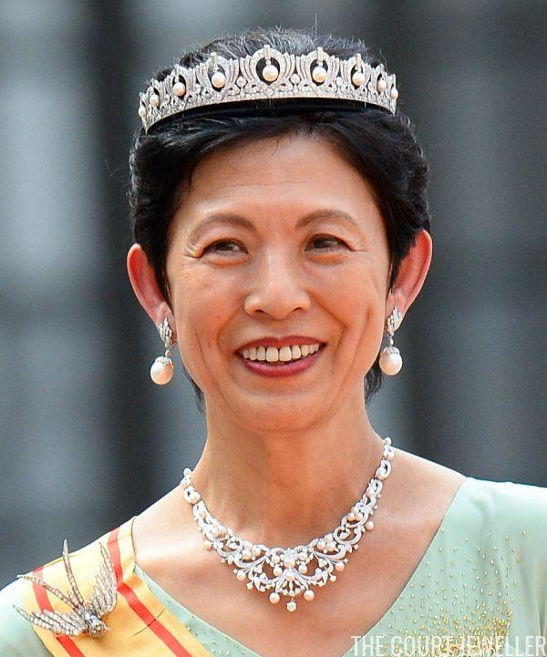 Japan's Princess Takamado wears a diamond and pearl tiara at the wedding of Prince Carl Philip and Princess Sofia of Sweden, June 2015