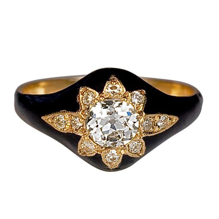 1stdibs.com | Antique Black Enamel & Diamond Star Ring