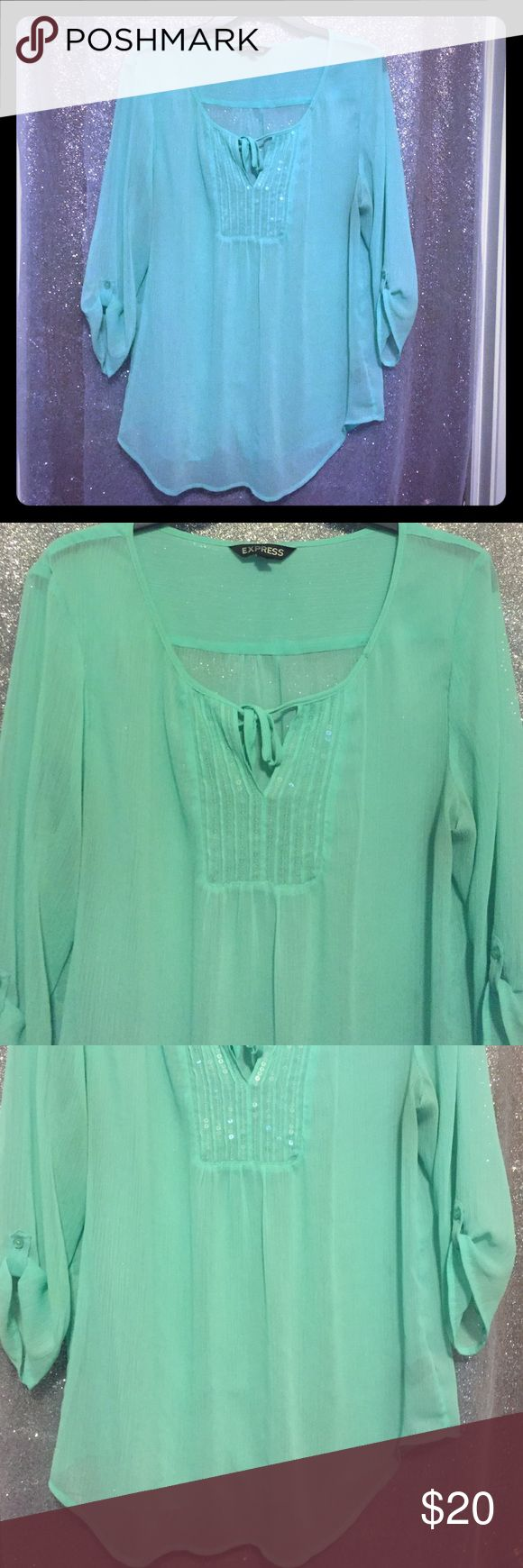 Express Light Turquoise Shirt Perfect for any occasion or work! So comfortable because it's flowy and light. Express Tops Blouses