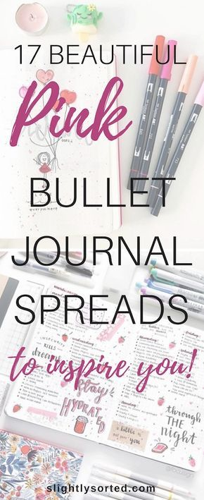 Pink Bullet Journal Spreads Pin