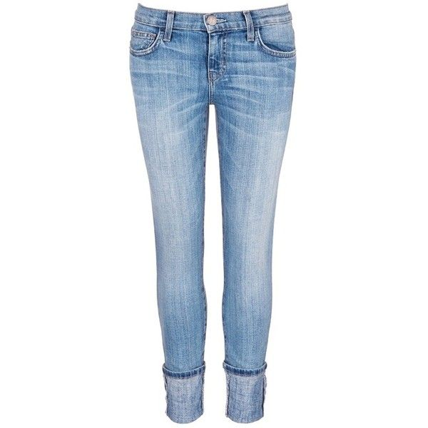 current/elliott 'The Cuffed Skinny' wide cuff jeans ($220) ❤ liked on Polyvore featuring jeans, blue, cropped jeans, super skinny jeans, cuffed cropped jeans, denim jeans and skinny leg jeans