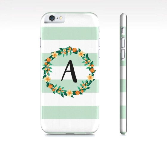 Initial iPhone Case - Custom Initial Phone Case - Personalized Phone Case - Floral Wreath and Mint Green Stripes Phone Case - Samsung Galaxy