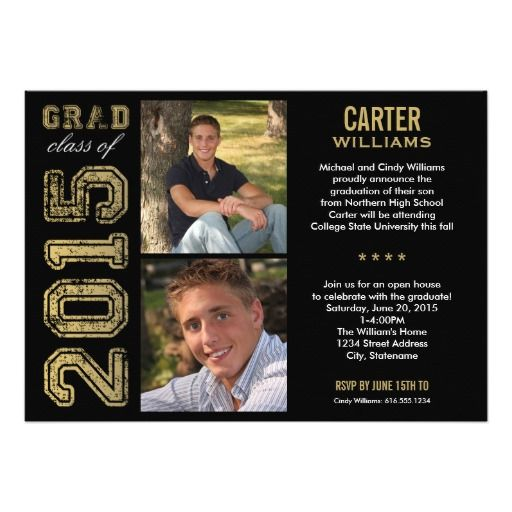 Announce your class of 2015 high school graduate in style with this graduation announcement and party invitation.  Two-sided card features two square photos of the graduate and a simple and masculine design with sports jersey inspired lettering, perfect for your all-star student and varsity athlete.  Classic and neutral black, antique gold, and white colors. Black background color can be customized to match your school colors.  *Photo Tip: crop your photos to a square shape before uploading…