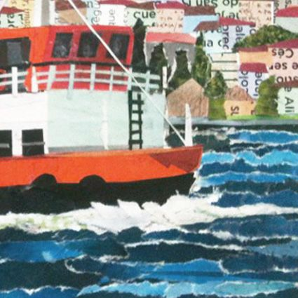 FERRYBOAT - LISBON  (magnified detail) / collage / paper on cardboard / anti-uv protection / 21 x 15cm / 8,2 x 5,9 inches / ©Philippe Patricio 2014 / all rights reserved /