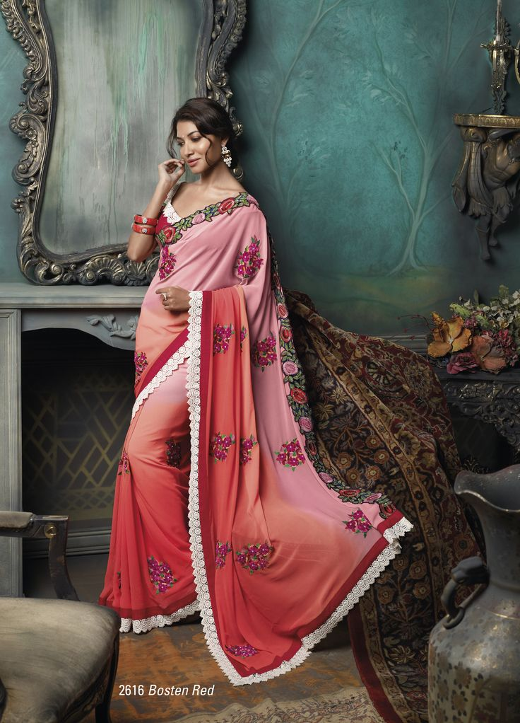 Georgette material orange & pink color  embroidered saree with white color border less