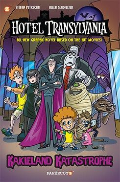 (Papercutz) Hotel Transylvania The debut Hotel Transylvania graphic novel based on the movies! Kakieland theme park owner Stephen Cling visits Hotel Transylvania to try and prove monsters are still dangerous. Dracula, his daughter and her family, and the Drac pack are anything but! However, when a human child goes missing, it is up to Drac, Mavis, and the rest of the Hotel crew to locate the child before their monstrous reputation gets them chased out of town.