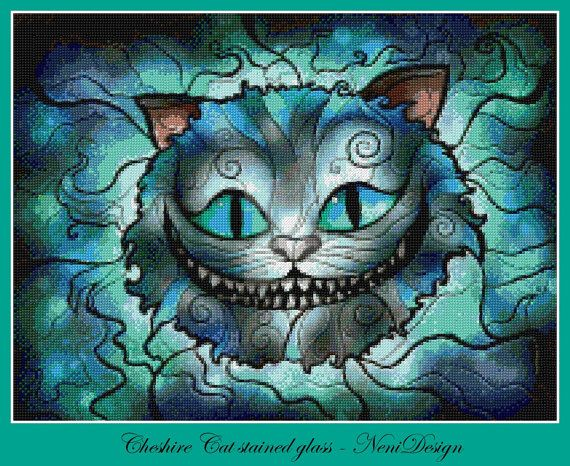 Cheshire Cat stained glass  Alice in Wonderland  par NeniDesign