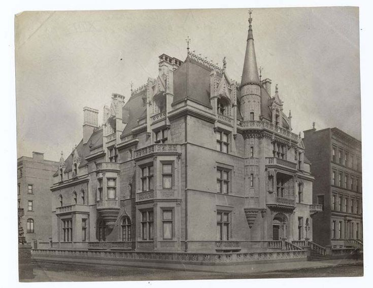 """William Kissam Vanderbilt (1849–1920) had three houses designed by Richard Morris Hunt.  His townhouse, the """"Petit Château"""" at 660 Fifth Avenue, New York, with details drawn in part from the late-Gothic Hôtel de Cluny, Paris, proved an influential example for other Gilded Age mansions, but was demolished in 1926."""