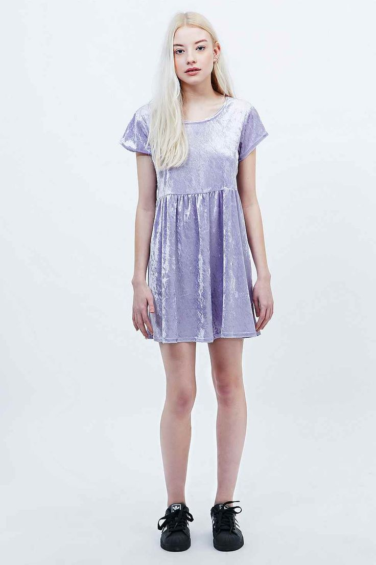Urban Renewal Vintage Remnants Velvet Babydoll Dress in Lilac