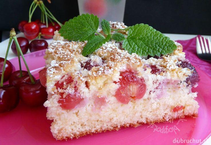 Fotorecept: Čerešňový koláč s kokosom