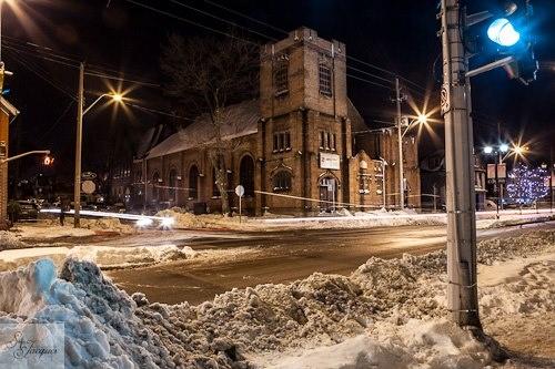 Barton Street in Hamilton, Ontario.  Church after the snow storm. Long exposure