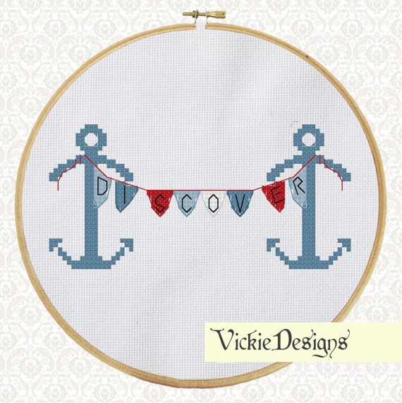Anchors Bunting Sailing Nautical Cross Stitch by VickieDesigns, $5.00