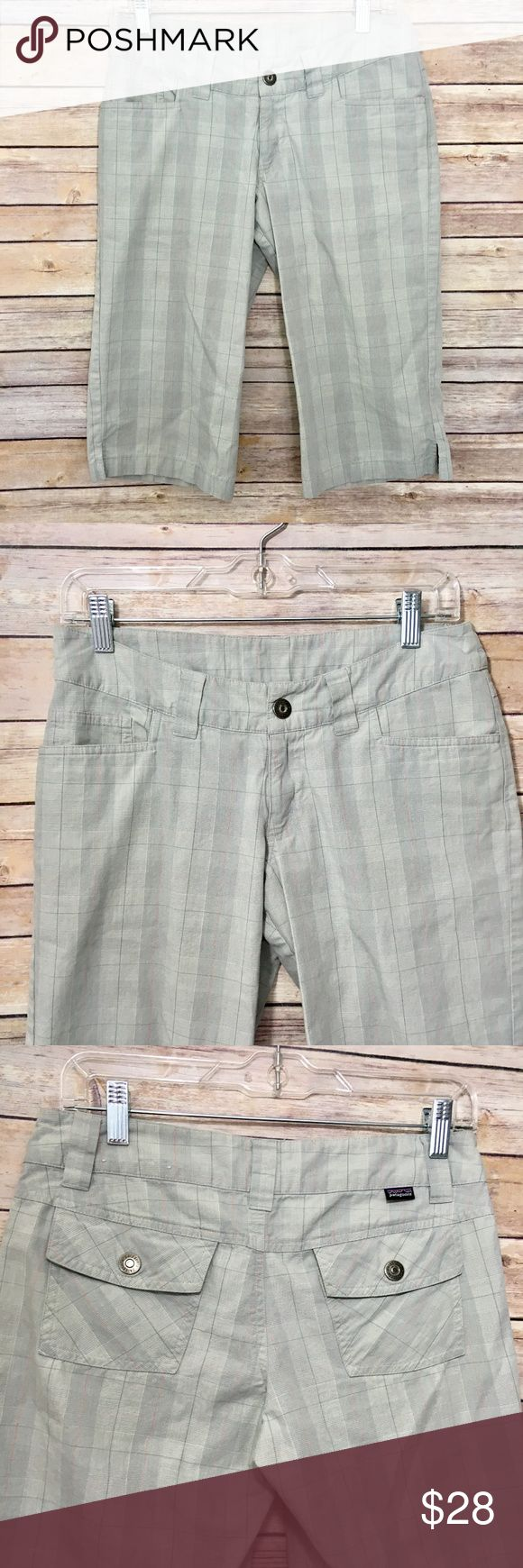 """Patagonia Organic Cotton Walking Shorts NWOT Patagonia women's walking/bermuda shorts (or capris depending on your height!) in gray plaid. Great for hiking, walking, golfing or being outdoors in general. 100% organic cotton. Zipper and double button fastener, 2 front/2 back pockets. 14.5"""" across waist laying flat. 16"""" inseam. In excellent condition. No trades please! Offers welcome. Patagonia Shorts Bermudas"""