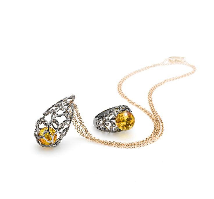 House of Amber - Beautiful necklace and ring from our Bolero Collection.