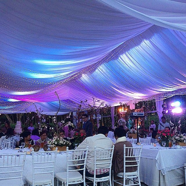 Blue Lights Illuminated in 39ft. x 41ft. High End Premium Tent can accommodate 150 guest  #Tents #weddings
