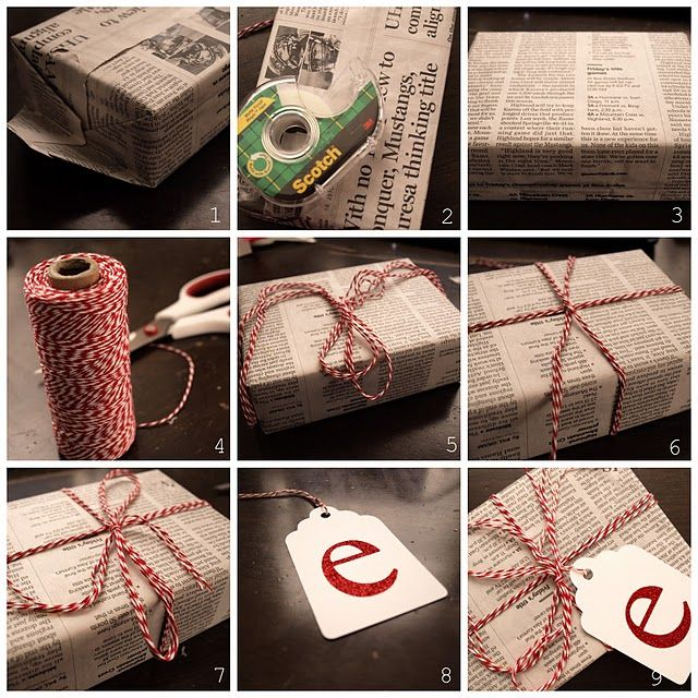 newspaper and twine gift wrapping