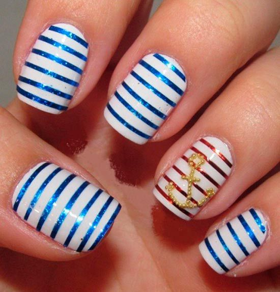 The 25 best nautical nail designs ideas on pinterest nautical cute nautical nail art designs nauticalnailart prinsesfo Image collections