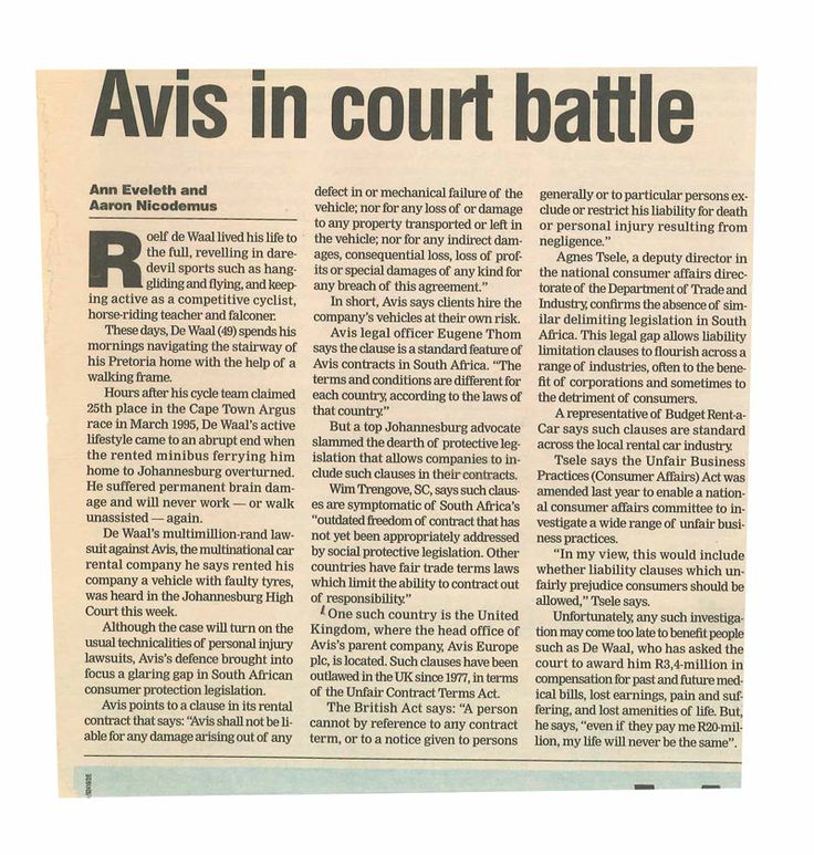 Mail & Guardian Article: Avis in Court Battle #RoadAccident #southafrica #Roadaccidentfund  Read more on http://lyonsbriviklaw.com/cases_aviscourtbattle.html